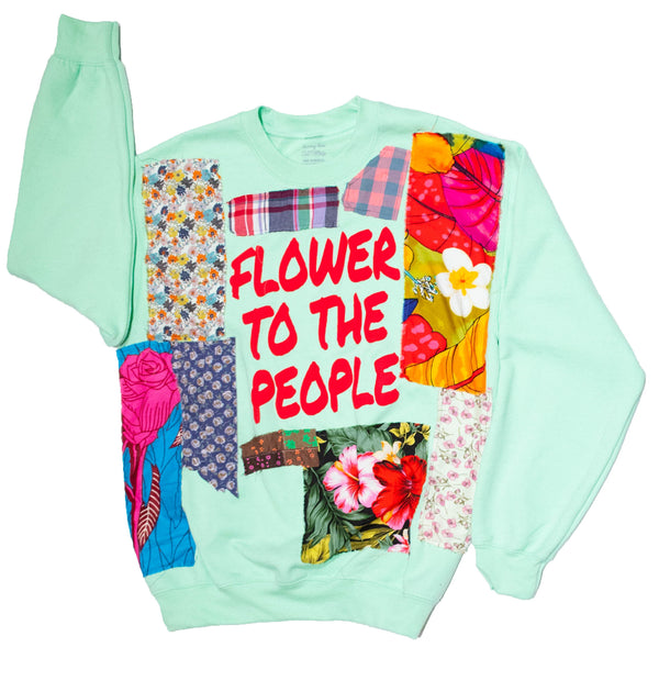 """FLOWERS TO THE PEOPLE"" Mint Crewneck (Cut and Sewn) - DA SPOT NYC"
