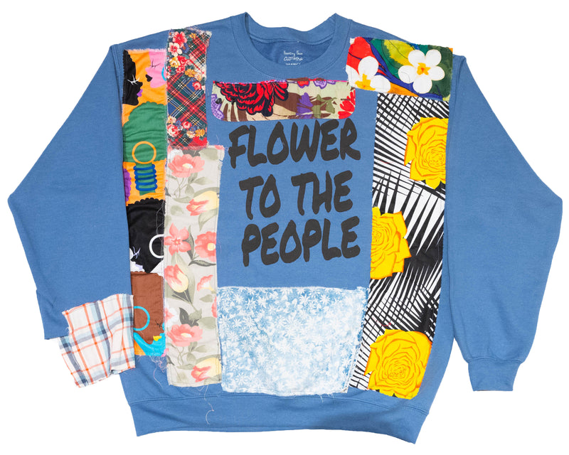 """FLOWERS TO THE PEOPLE"" Blue Crewneck (Cut and Sewn) - DA SPOT NYC"