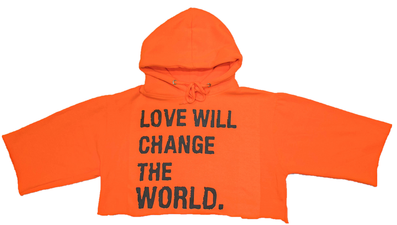 LOVE WILL CHANGE THE WORLD CROPPED HOODIE - DA SPOT NYC