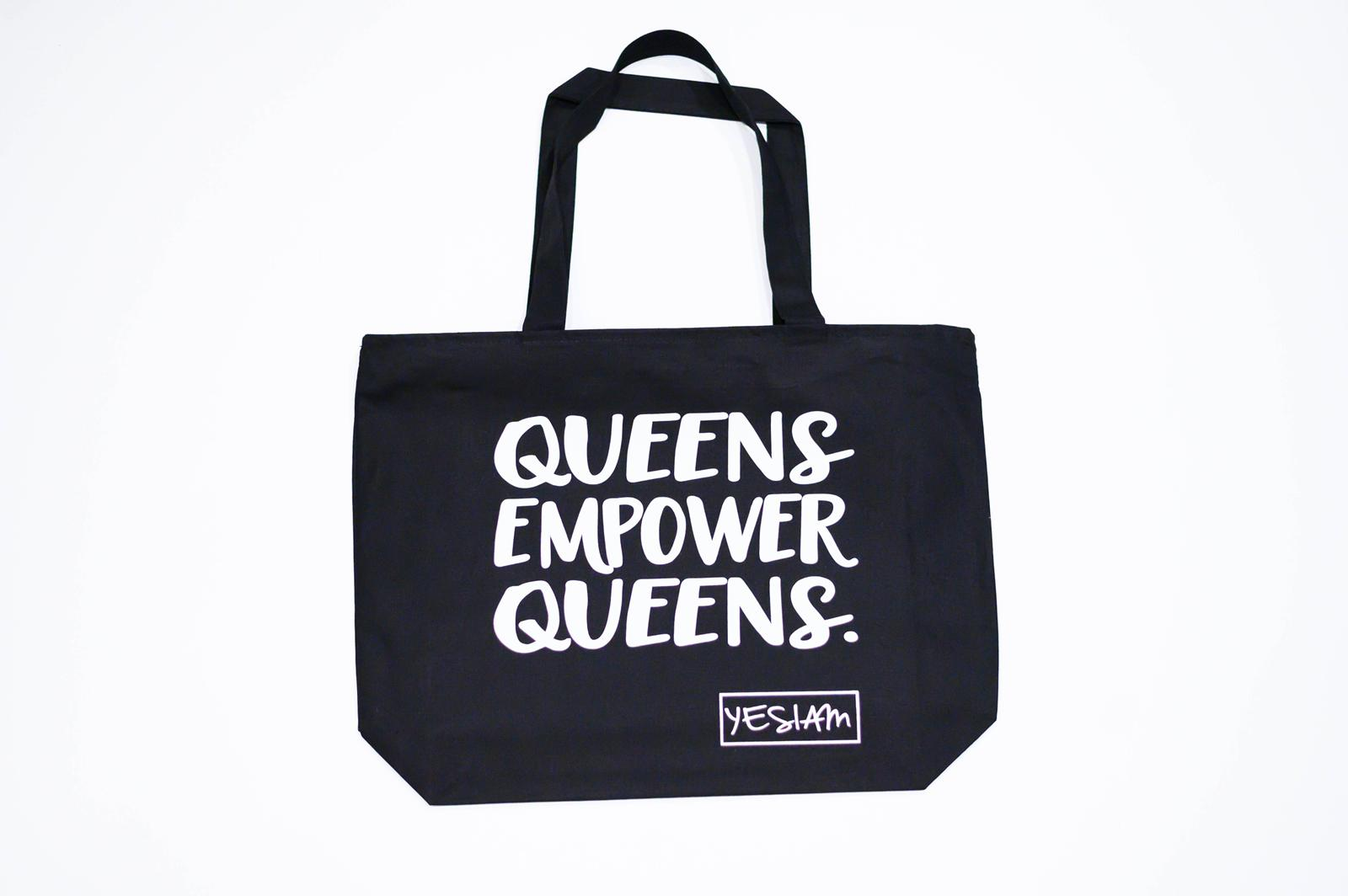 YES I AM ! QUEENS EMPOWER QUEENS OVERSIZED TOTE - DA SPOT NYC