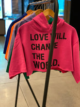 FRANTZY FACE | LOVE WILL CHANGE THE WORLD CROPPED HOODIE - DA SPOT NYC