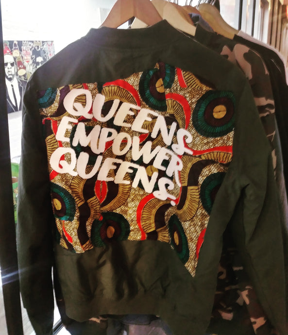 YES I AM CLOTHING | QUEENS EMPOWER QUEENS CUT AND SEW BOMBER JACKET
