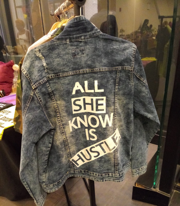 YES I AM | SHE HUSTLES DENIM JACKET - DA SPOT NYC
