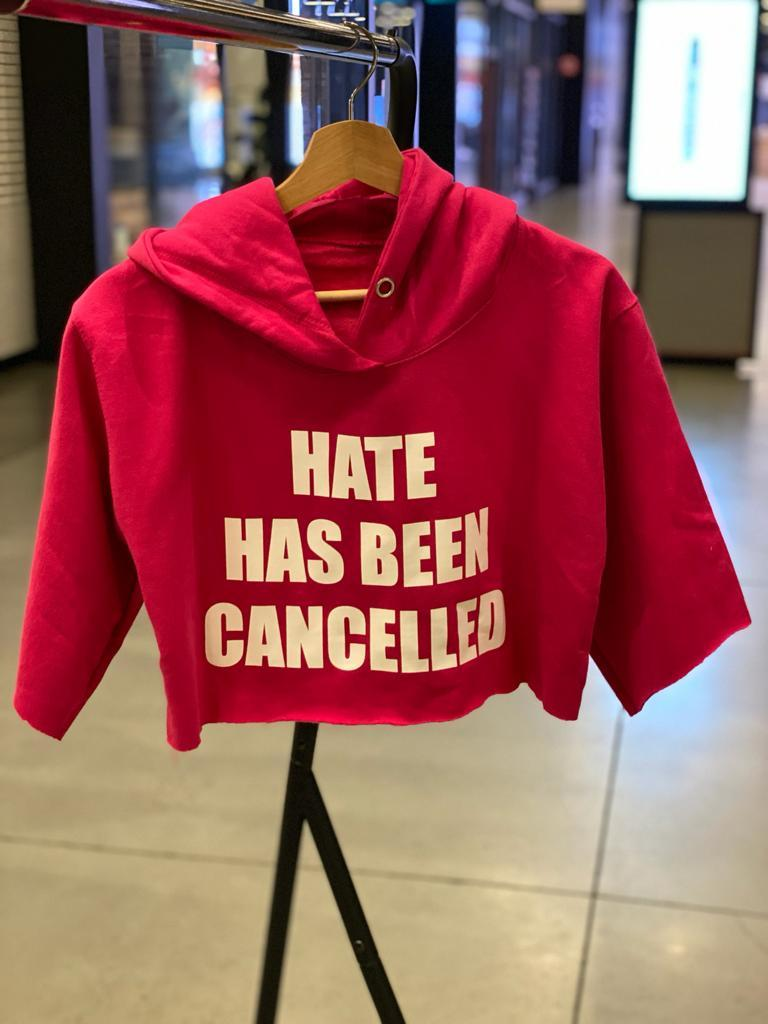 FRANTZY FACE | HATE HAS BEEN CANCELLED CROPPED HOODIE - DA SPOT NYC