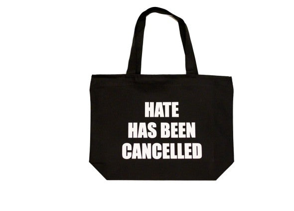 FRANTZY FACE | HATE HAS BEEN CANCELLED OVERSIZED CANVAS BAG - DA SPOT NYC