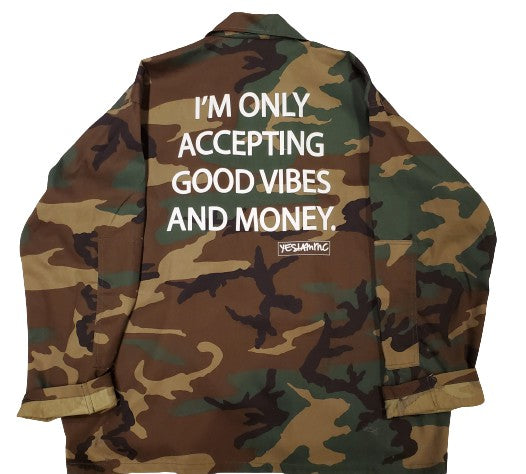 GOOD VIBES AND MONEY ARMY JACKET - DA SPOT NYC