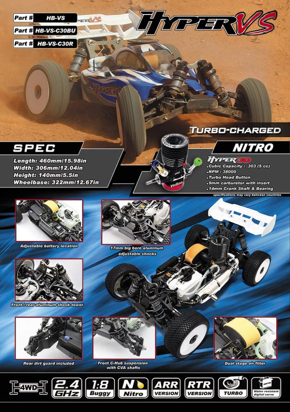 [HB-VS-C30BU] HYPER VS 1/8 BUGGY NITRO W/30 TURBO ENGINE (BLUE BODY)