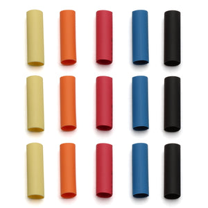 Shrink Tubing, 15pcs (3pcs each of 5 colors)
