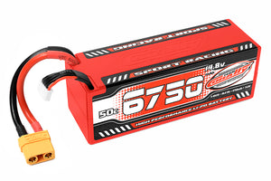 6750mAh 14.8v 4S 50C Hardcase Sport Racing LiPo Battery with