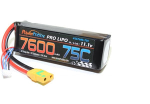 7600mAh 11.1V 3S 75C LiPo Battery with Hardired XT90