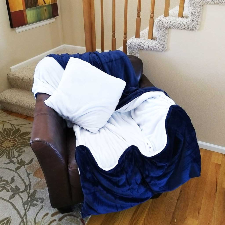 Denim Tv Blanket With Foot Pocket That Folds Into A Pillow