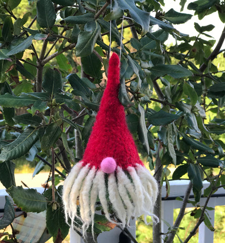Gnome Felted Ornament (Red hat)