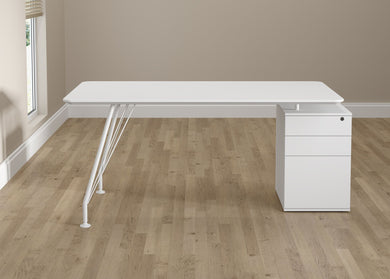 Home Office Rectangular Desk with Drawer Cabinet - White
