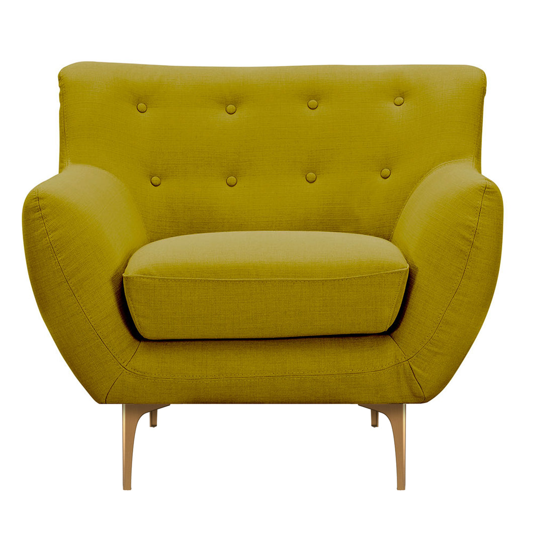Avocado Green Karina Armchair- Brass