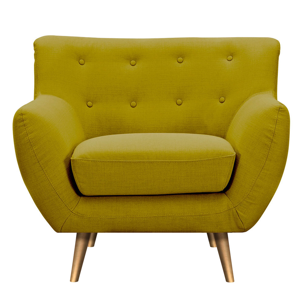 Avocado Green Anke Armchair- Brass