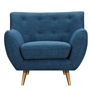 Stone Blue Anke Armchair- Brass