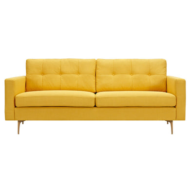 Papaya Yellow Greta Sofa- Brass