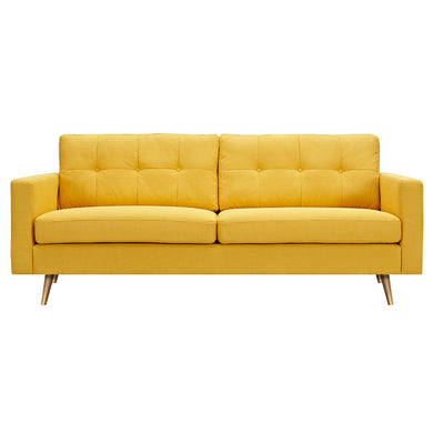 Papaya Yellow Elke Sofa- Brass