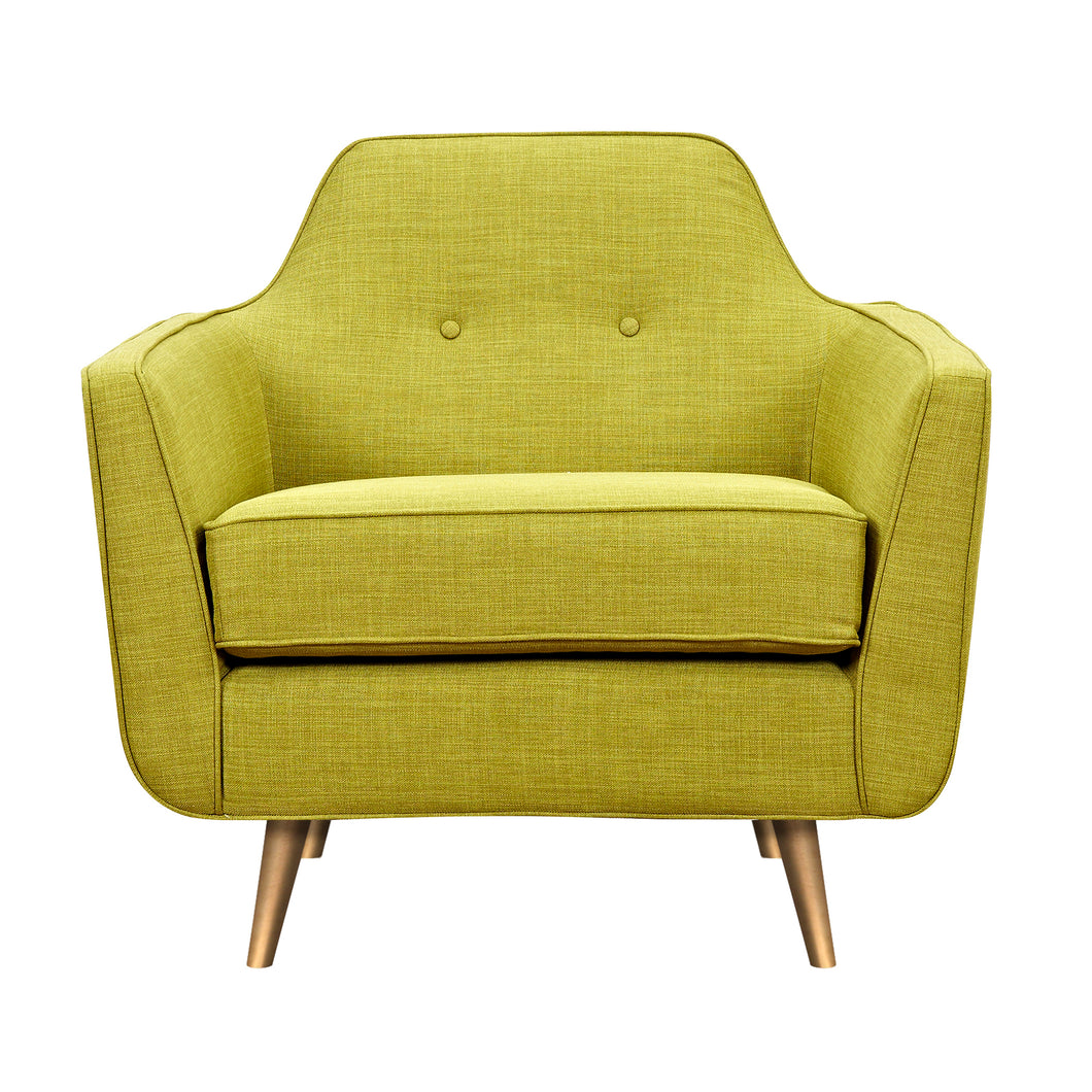 Avocado Green Helle Armchair- Brass
