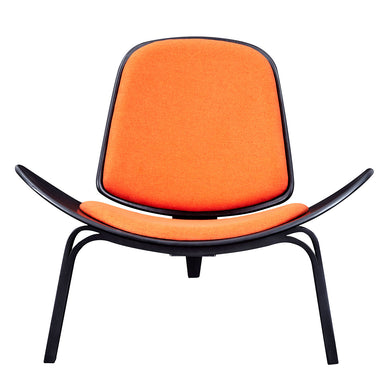 Retro Orange  Shell Chair - Black