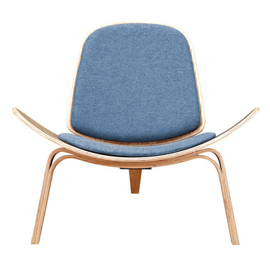Dodger Blue Shell Chair - Natural