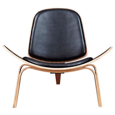 Milano Black Shell Chair - Walnut