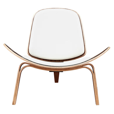Milano White Shell Chair - Walnut