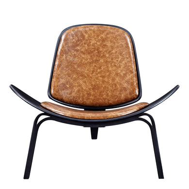 Weathered Whiskey Shell Chair - Black