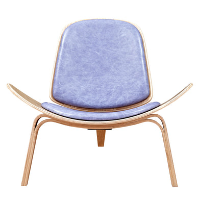 Weathered Blue Shell Chair - Natural
