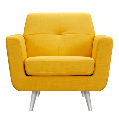 Papaya Yellow Gala Armchair- Silver