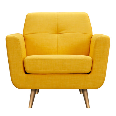 Papaya Yellow Gala Armchair- Brass