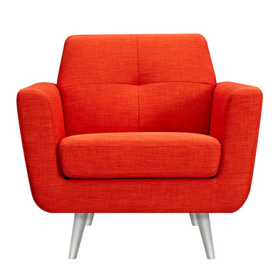 Retro Orange Gala Armchair- Silver