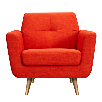 Retro Orange Gala Armchair- Brass