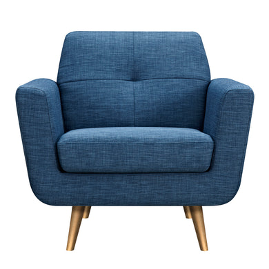 Stone Blue Gala Armchair- Brass