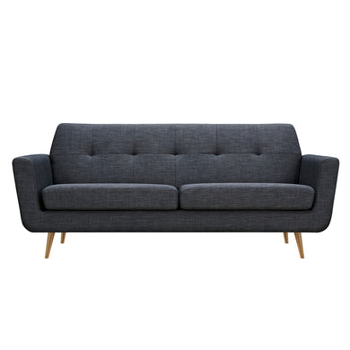 Charcoal Gray Gala Sofa- Brass