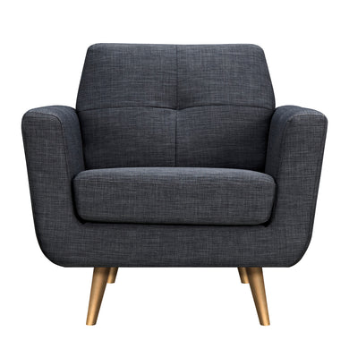 Charcoal Gray Gala Armchair- Brass