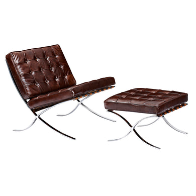 Aged Cognac Mies Chair and Ottoman