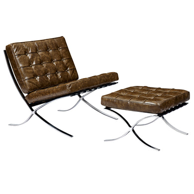 Palermo Olive Mies Chair and Ottoman