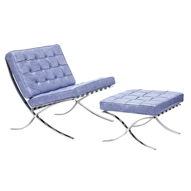 Weathered Blue Mies Chair and Ottoman