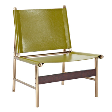 Olive Green Slad Chair - Brass