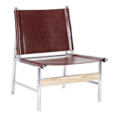 Aged Cognac Slad Chair - Nickel
