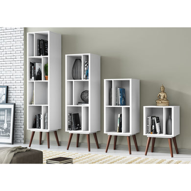 Cubby Bookcases - White Satin - Blanc + Gris