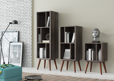 Ideaz International Cubby Bookcases - Terrarum Walnut - Blanc + Gris