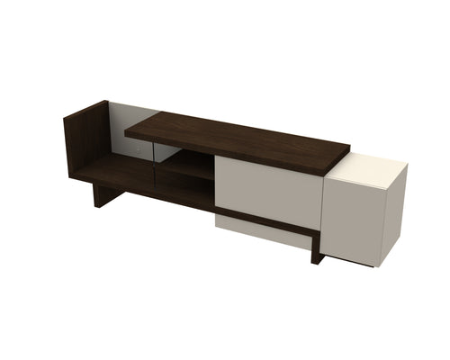 Urban TV Cabinet - Wenge/Off White - Blanc + Gris