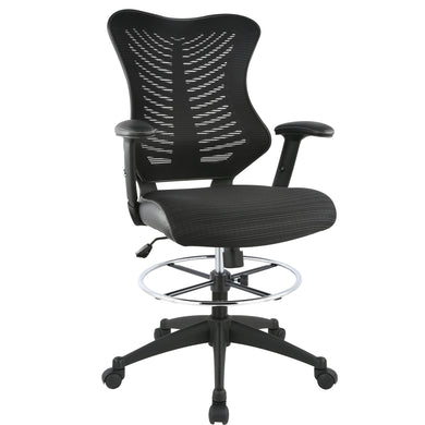 Correna Drafting Chair in Mesh, Black