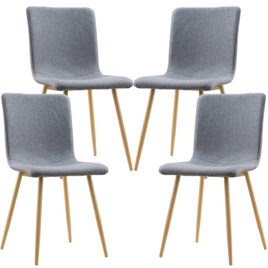 Wadsworth Dining Chair with Natural Legs in Grey (Set of 4)