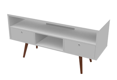 Jessie TV Stand - White Satin - Blanc + Gris