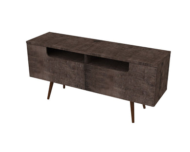 Ideaz International Jensen TV Stand - Terrarum Walnut - Blanc + Gris