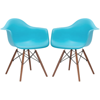 Vortex Arm Chair Walnut Leg in Aqua (Set of 2)