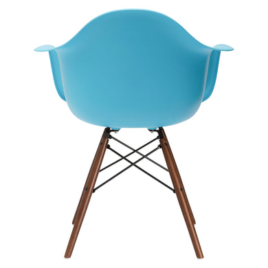 Vortex Arm Chair Walnut Leg in Aqua